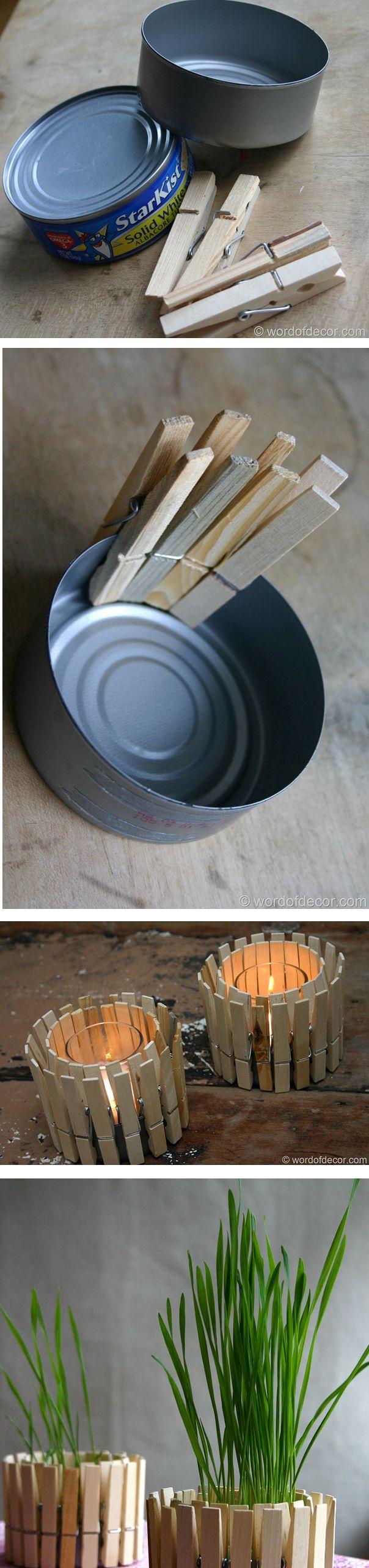 castiçal feito de lata de sardinha e prendedor de roupa.Pode incrementar pintando os prendedores