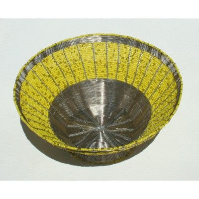 Yellow Beaded and Wire Handmade Bowl Artwork