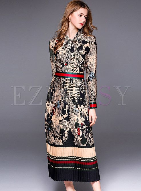 bc92aa2aec Shop for high quality Ethnic Floral Print Bowknot Maxi Dress online at  cheap prices and discover fashion at Ezpopsy.com