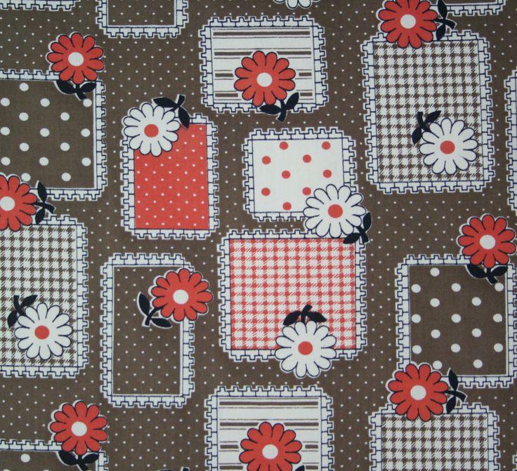 vintage 1950s patchwork check & spot & floral print cotton dress fabric