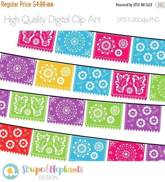 40% OFF SALE Papel Picado Clipart Digital Fiesta Mexican