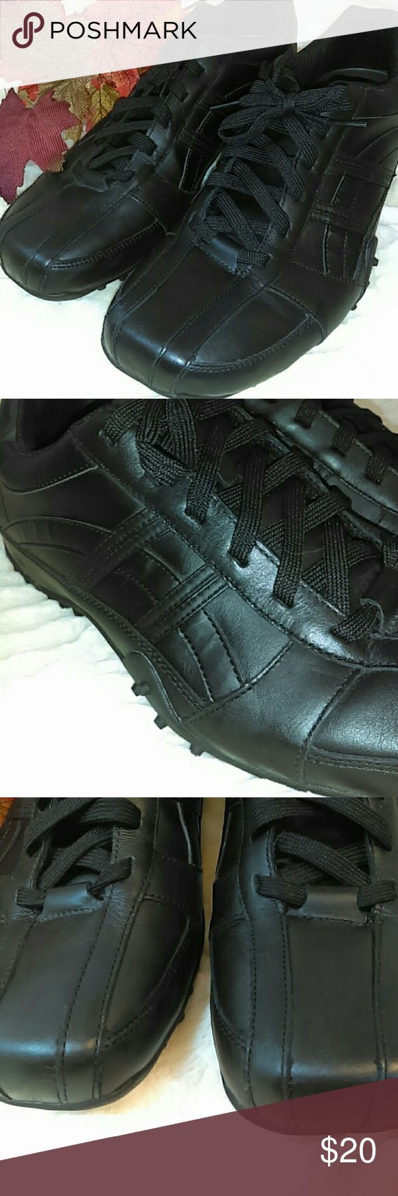 Skechers Work Shoes * Skechers Slip Resistant EH Work Shoes for Men. * Black. * Size 11 * Leather/Synthetic Upper with Rubber Sole. * Excellent Condition - worn once. Skechers Shoes