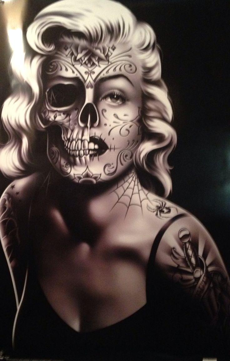 Marilyn Monroe sugar skull poster