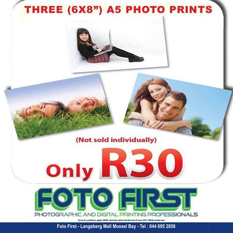 """Another fantastic July special: Three 6x8"""" A5 Photo Prints (only R30) not sold individually Find us on Facebook:http://www.facebook.com/fotofirst.mosselbay"""
