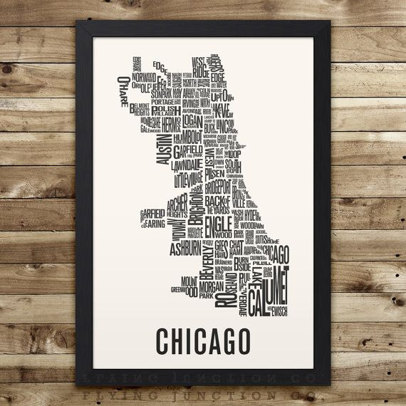 Chicago Neighborhood Typography City Map Print (12 x 18) This map features 100 neighborhoods, outlining the city of Chicago. Professionally
