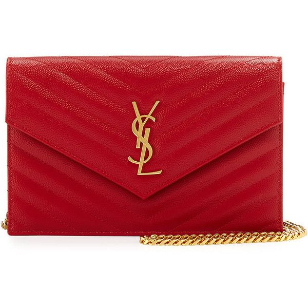 Saint Laurent Monogram Medium Matelasse Shoulder Bag ($1,355) ❤ liked on Polyvore featuring bags, handbags, shoulder bags, red, red purse, red shoulder bag, monogrammed purses, monogram handbags and shoulder strap handbags