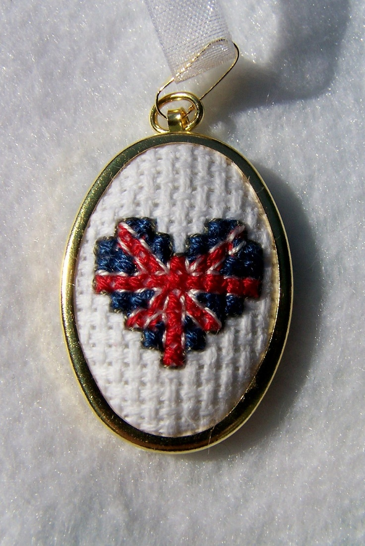 Union Jack Flag Cross Stitch Pendant, Olympics Embroidered Necklace, Needlework Pendant-United Kingdom. $30.00, via Etsy.