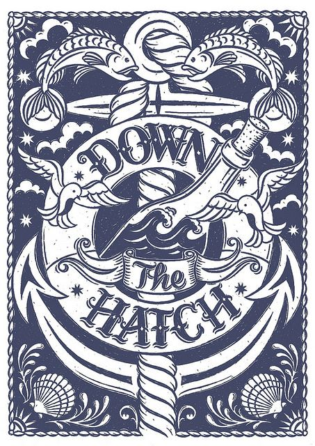Down the Hatch // Hand illustrated nautical screen print. Alexandra Snowdon