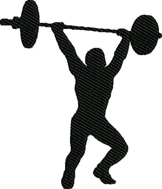 weightlifting Silhouette embroidery design | Embroidery ...