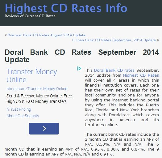 This Doral Bank CD rates September, 2014 update from Highest CD Rates will cover all 4 areas in which this financial institution covers. Read more at http://www.highestcdratesinfo.com/doral-bank-cd-rates-september-2014-update/
