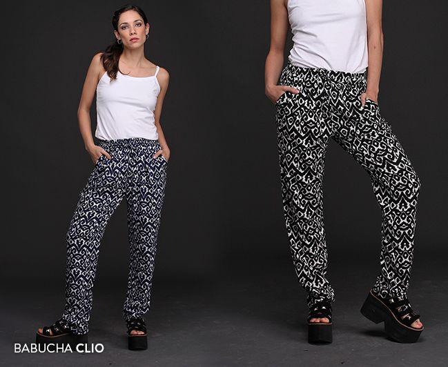 Babucha Clio: estampada con un hermoso motivo abstracto y con cintura elastizada, esta prenda es versátil, cómoda y fresca. #MustHave