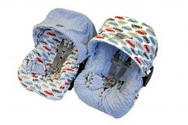 Itzy Ritzy - Baby Ritzy Rider Infant Car Seat Cover - Rodeo Drive & Blue Minky
