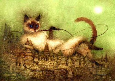 Igor Oleynikov. Russian Illustrator.. Who doesn't love a cat smoking hookah?