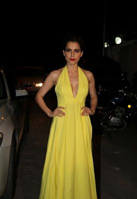 High Quality Bollywood Celebrity Pictures: Kangana Ranaut Sexiest Cleavage Show In Yellow Low Neck Dress At Film 'Tanu Weds Manu Returns' Success Party In Mumbai