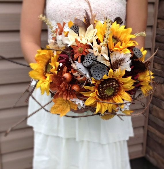 KristinesByDesign on Etsy made this sunflower fall bouquet: