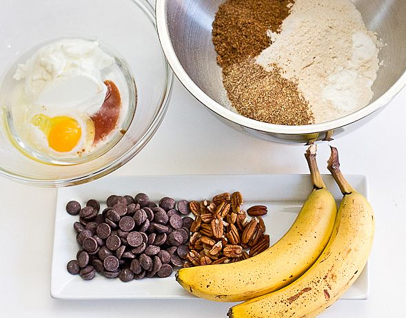 Healthy Banana Muffins with yogurt, pecans and chocolate chips!