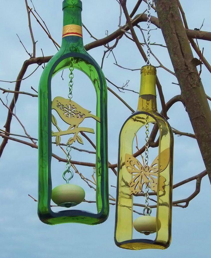 Wine Bottle Wind Chime with wooden knocker (Groovy Green Glass via Etsy).