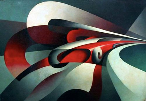 The Strength of the Curve [Tullio Crali, 1930]  Crali gives us a very strong composition. It's bold color combination, the vibrant red and black with the intercepting blue/greens help emphasize the movement, the light areas reinforce the idea of a strong curve and drive the movement. The flat areas create a great contrast, while the combination of colors unite the whole. It is dynamic, powerful and at the same time beautiful.