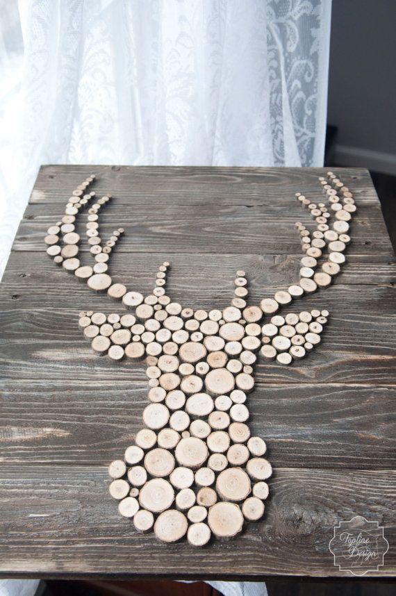Wood Sliced Deer head Silhouette Wall Decor by ToplineDesignLLC