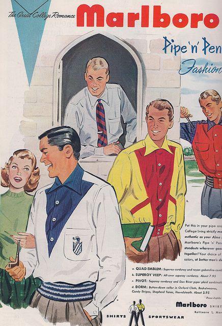 vintage mens fashion ads | mens college fashion ad 1951 smart fashions for the bmoc 1950 s style ...