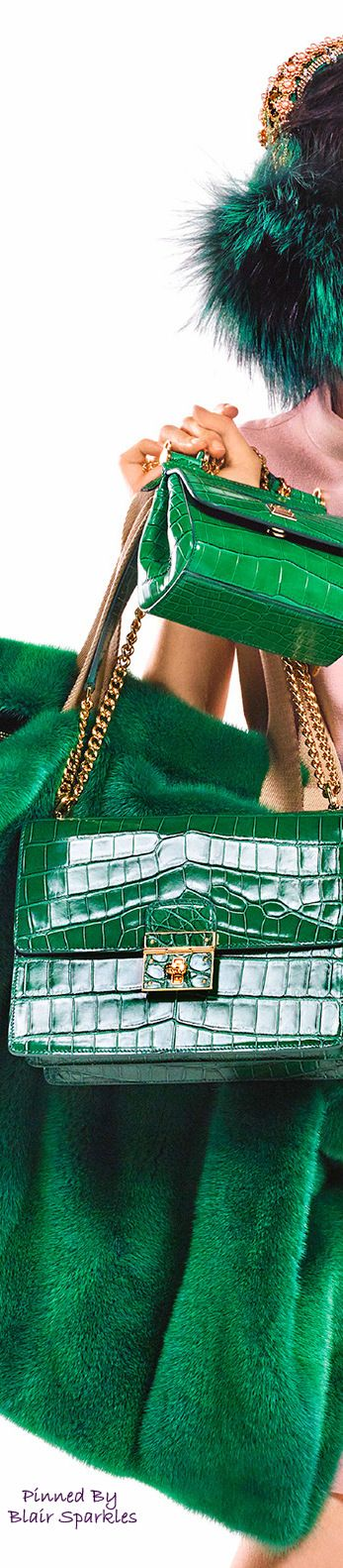 //Dolce & Gabbana ~ Kelly Green Alligator Leather Bags 2016 #fashion #accessories