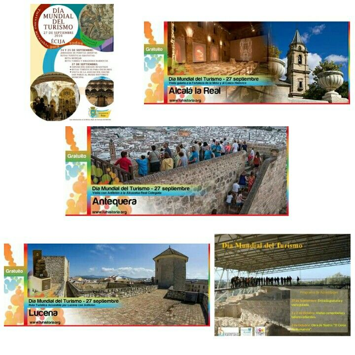La #FundaciónCiudadesMediasdelCentrodeAndalucía os desea un feliz #DíaMundialdelTurismo. Ven a celebarlo con nosotros.  #AlcalálaReal, #Antequera, #Écija, #Lucena y #PuenteGenil. Os esperamos! Andalucía Network Vive Andalucía #turismoparatodos
