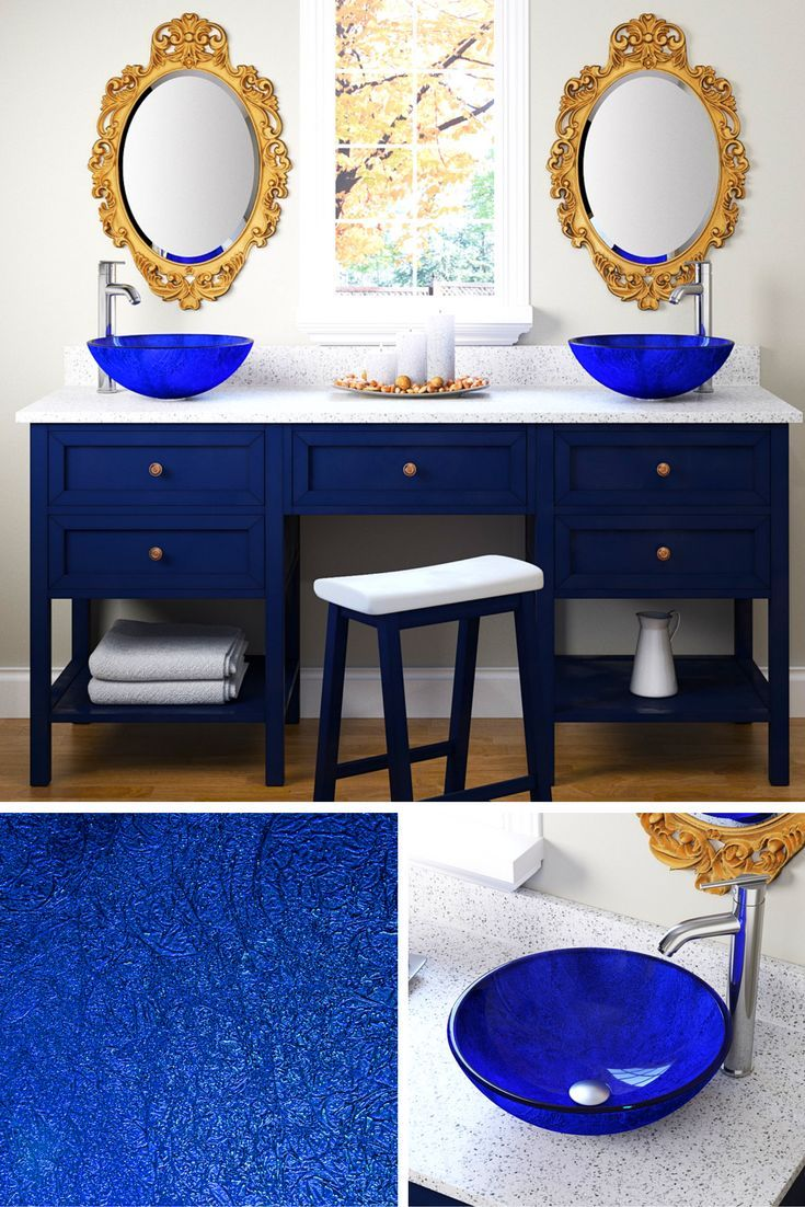 Pair an ornate, gold mirror with a foiled blue glass vessel sink (only $79!) to create a glamorous bathroom with vintage charm.