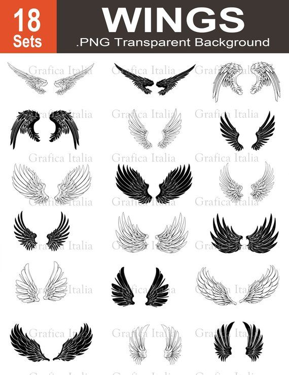 552ef38b3 Wing Clip Art - 18 Wing Set - Angel Wings Clipart - Graphic Design Wings -  PNG Transparent - for Alt | Products | Art, Wings png, Tattoo drawings