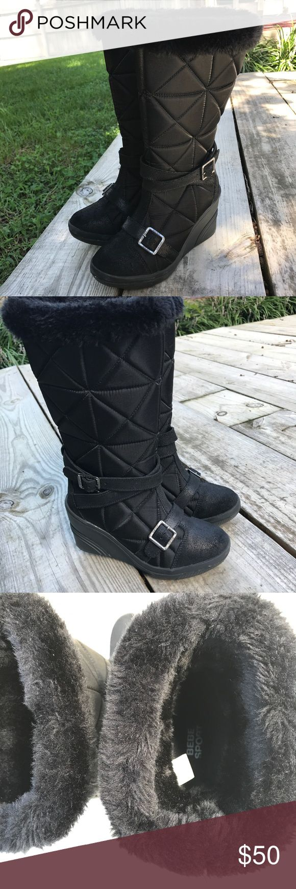 """👢Bebe Sport Quilted wedge waterproof snow boots Excellent condition. Strappy calf boot. Size 6 w/ 3"""" wedge. Vegan fur on top. Mixed materials. Silver toned hardware bebe Shoes Winter & Rain Boots"""