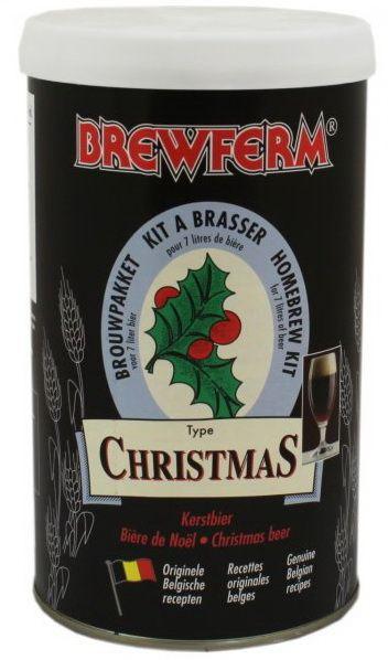 Brewferm Christmas Ale   O bere puternica de culoare inchisa, cu o placuta aroma de malt. O adevarata bere-desert. Gust se imbunatateste considerabil in timp!  Ingrediente: Extract de malt cu hamei Drojdie speciala Brewferm  Greutate kit - 1.5 kg Pentru 7 litri de bere ABV - aprox. 7.5% Densitate la inceput - 1065 Durata de fermentare - 7 zile Durata conditionare la sticla - 4 saptamani