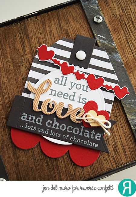 Valentine's Tag by Jen del Muro. Reverse Confetti stamp set: Lovely Word Coordinates. Confetti Cuts: Lovey Words, Double Heart Garland, Tag Me, Too, Stitched Flag Trio, and Circles 'n Scallops. Valentine's Day.