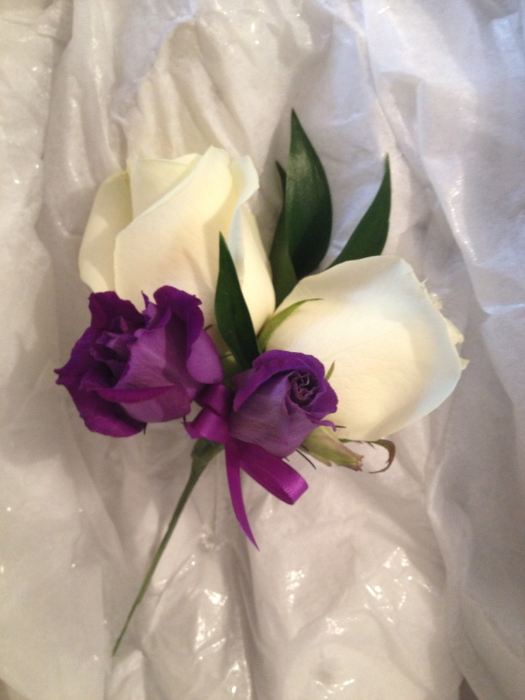 Ladies Corsage, double Avalanche Rose with Purple Lisianthus and ribbon.
