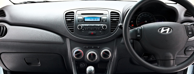 Dash view of the Hyundai i10.