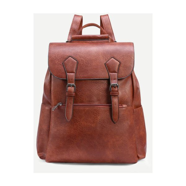 SheIn(sheinside) Camel Dual Buckled Strap Flap Backpack ($26) ❤ liked on Polyvore featuring bags, backpacks, camel, vintage backpacks, vintage rucksack, flap backpack, camel bag and brown backpack