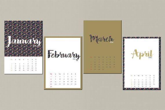 2016 Calendar, Floral desk calendar, 2016 desk calendar, Monthly Calendar, Christmas gift for him her, Mini calendar,INSTANT DOWNLOAD  This listing