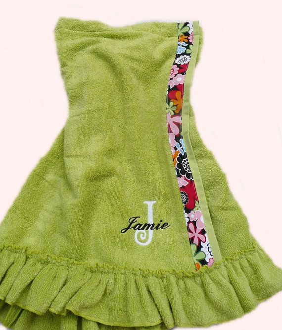 Monogrammed towel wrap, personalized towel wrap, ruffled towel wrap on Etsy, $31.50