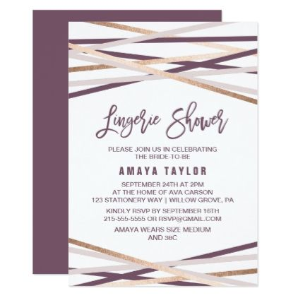 Purple Blush & Rose Gold Streamer Lingerie Shower Card - bridal shower gifts ideas wedding bride