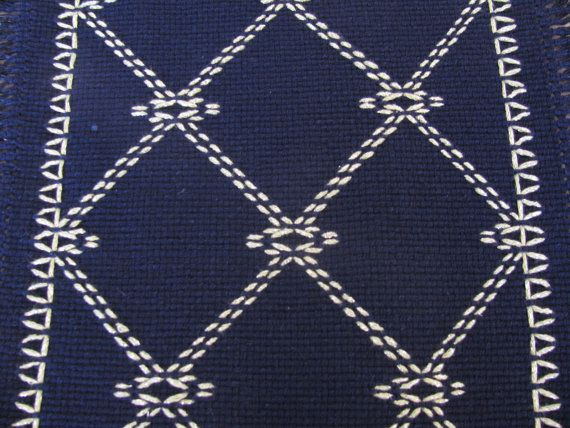 Navy Swedish Weaving Table Runner With Celery by rdrunnercreations