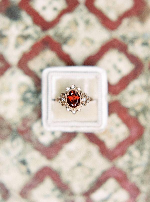 Vintage Ruby Engagement Ring in Yellow Gold | Taralynn Lawton Photography | http://heyweddinglady.com/moody-dark-fairy-tale-wedding-shoot-mountains/