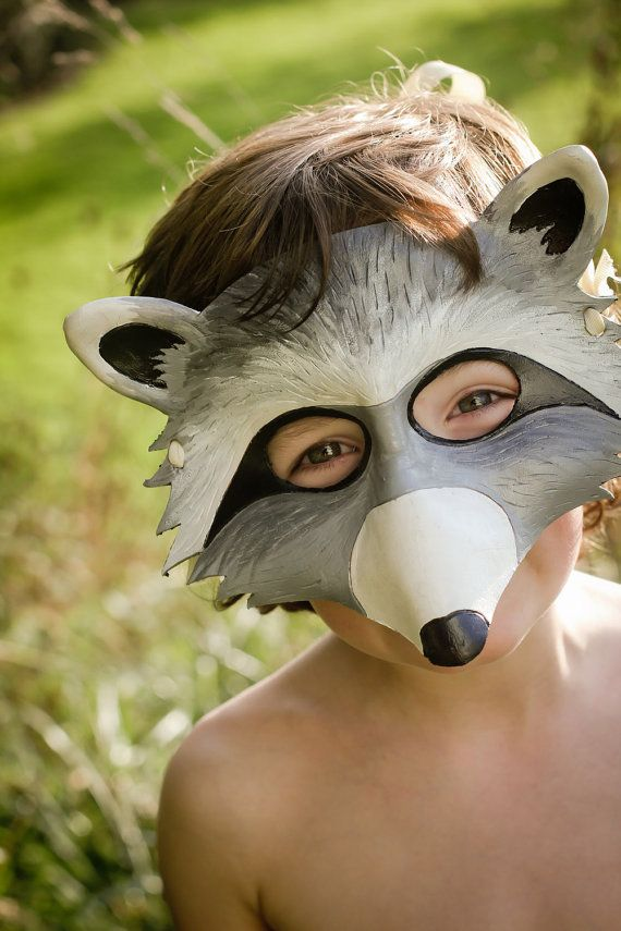raccoon leather mask: