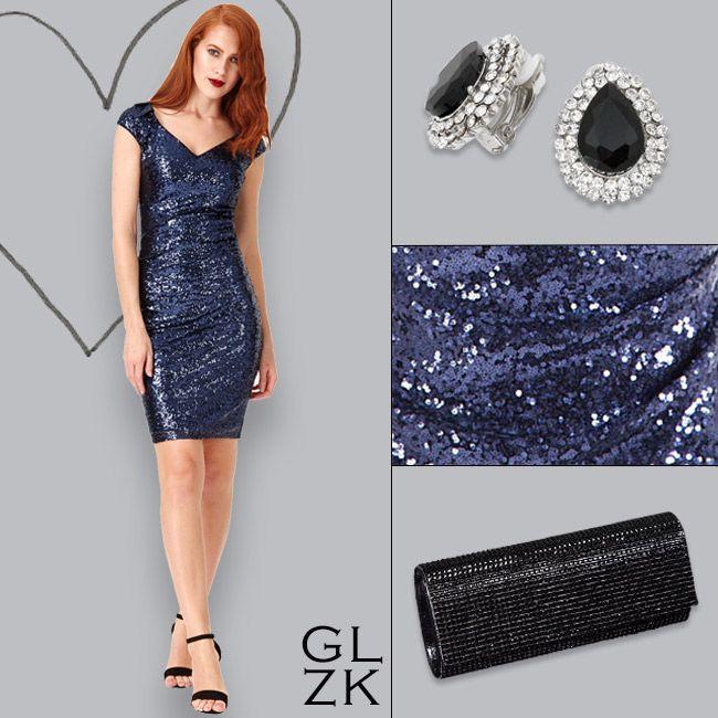 Glitter & Glamour.... Pailletten cocktailjurk, aangesloten model. Prachtige jurk voor de feestdagen! https://www.degalazaak.nl/cocktail-2602.html