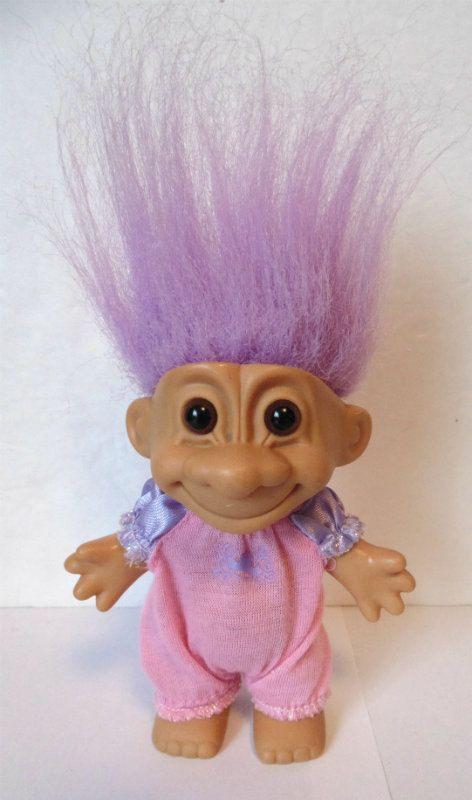 Vintage Russ TROLL Doll lavendel paars haar gekleed door TOYPLANET