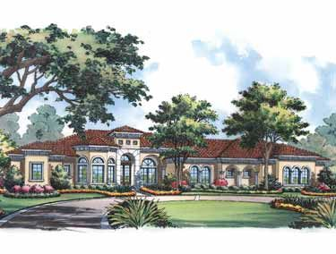 One Story Mediterranean Style (HWBDO15064) | Mediterranean House Plan from BuilderHousePlans.com