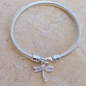 Twisted Cable Bangle - with Czech glass rhinestone Dragonfly and Hook-and-eye clasp.