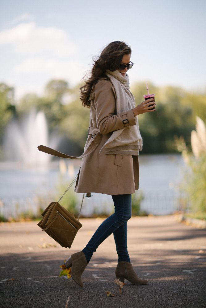 Camel coat outfit - cream blanket scarf, tan suede bag and booties                                                                                                                                                                                 More
