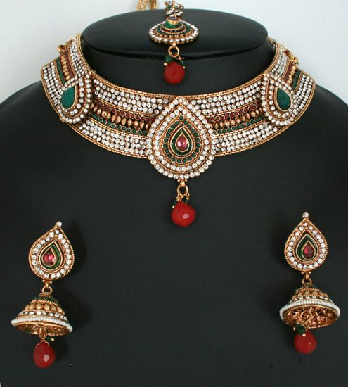Indian Jewellery And Clothing Polki Necklace Sets From: Fashion Indian Jewellery Polki Necklace Set With Emerald