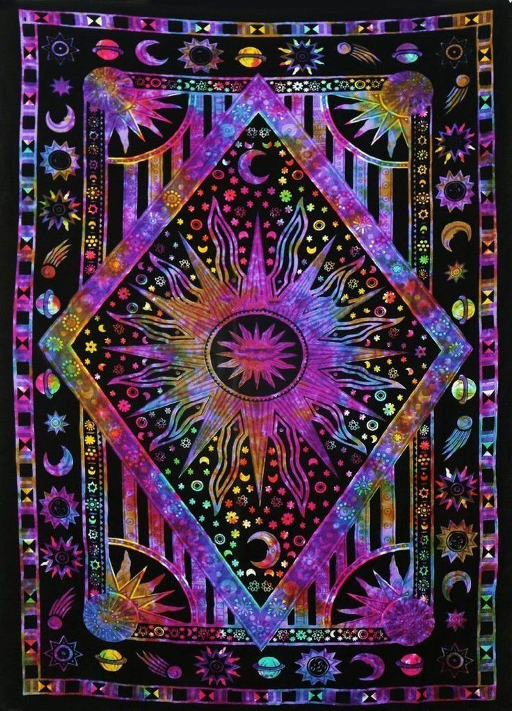 Tie Dye Purple burning sun tapestry wall hanging hippie beach throw