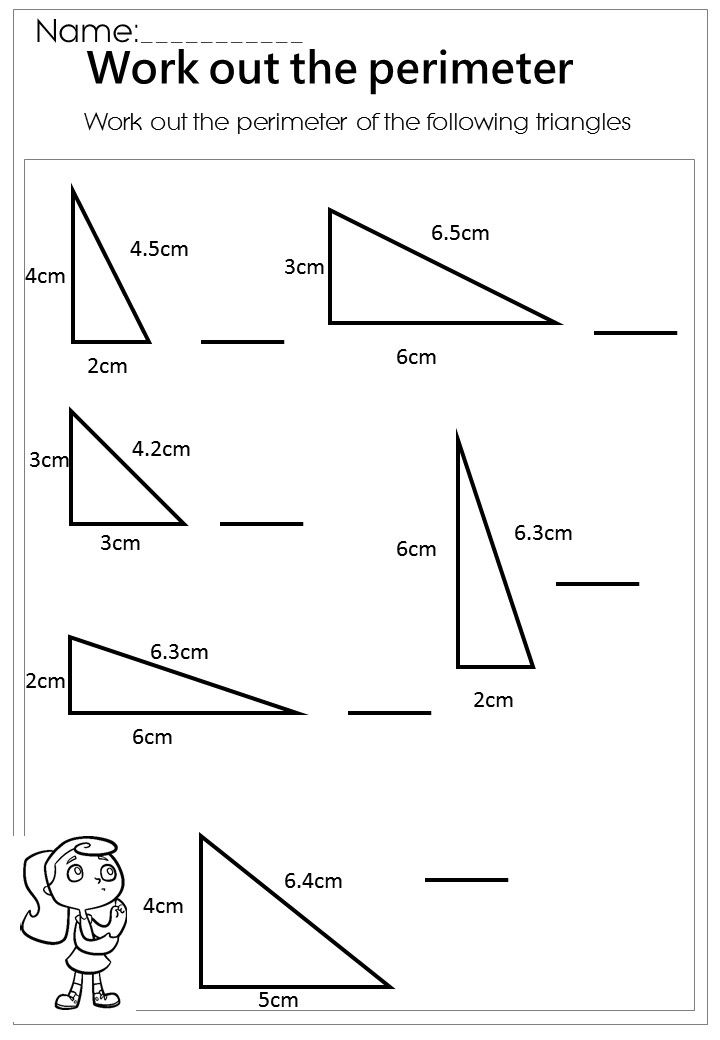 Work out the Triangle Perimeter Worksheet