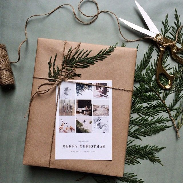 pretty christmas gift - twine, paper, cedar leaves, card
