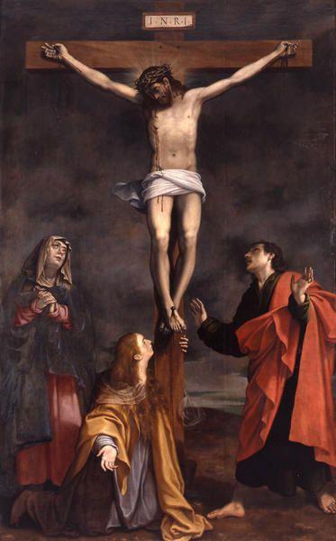 Christ on the Cross with The Virgin, Saint John and Saint Mary Magdalene / Christ en croix avec la Vierge, saint-Jean et sainte Marie-Madeleine // 17th C. // Bartolomeo Cesi // Musée Fesch // #Jesus #Calvary